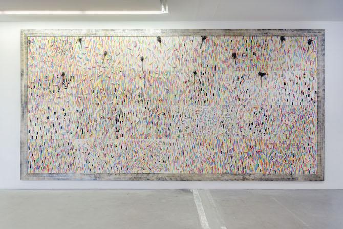 Fresque de craies / Chalk fresco, 2015 Craies,techniques mixtes313 x 624 cm, panneaux de 72x100 cm Photo : Claire Dorn Courtesy VNH Gallery ADAGP, Paris, 201