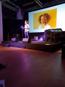 Bernadine Evaristo performs at Looking b(l)ack 2018