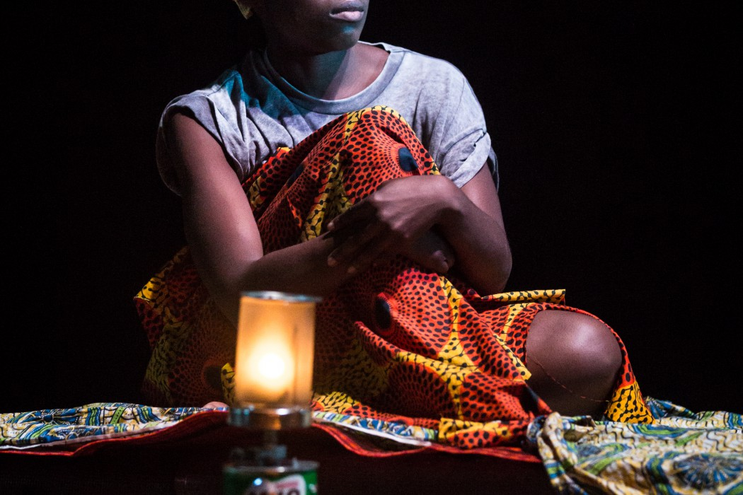 """Joan Iyiola on stage during """"They drink it in the congo"""""""