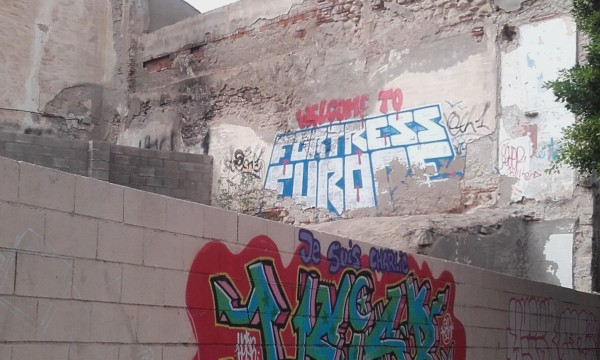 Fortress europe graffiti on wall in Melilla