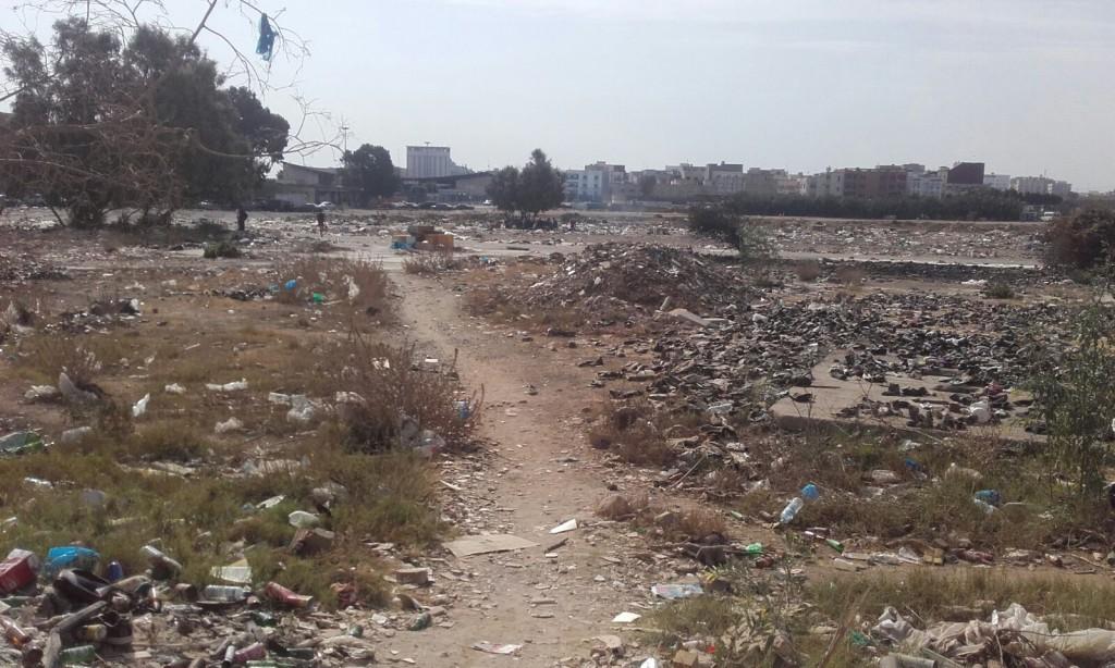 Litter strewn landscape in Melilla