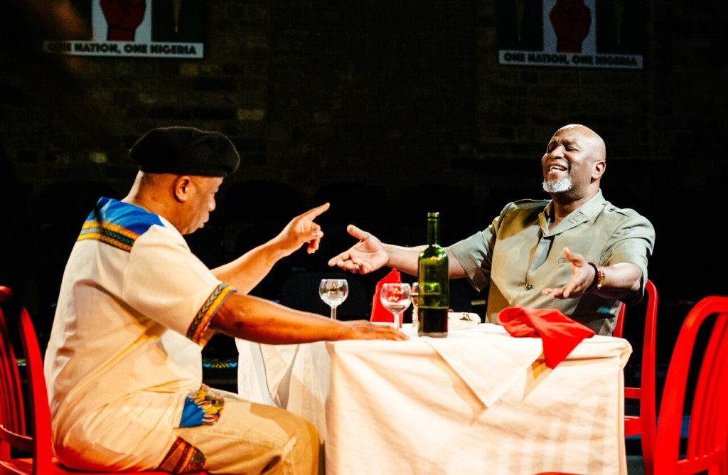 Tunde Euba (Comrade Edobor) & Patrice Naiambana (Greatness Ogholi) in Oladipo Agboluaje's 'New Nigerians'. (c) Alex Brenner.