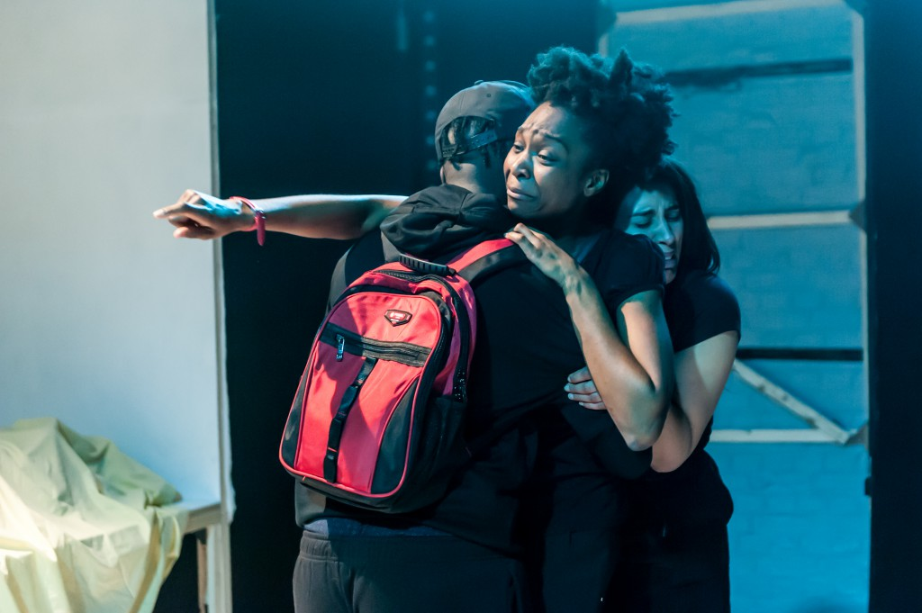 Urbain Hayo (Brother), Kiké Brimah (Sister) &  Sacharissa Claxton (Lover) in Urban Wolf & Tom Wainwright's 'Custody'. (c) Lidia Crisafulli