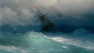A ship sailing through a storm