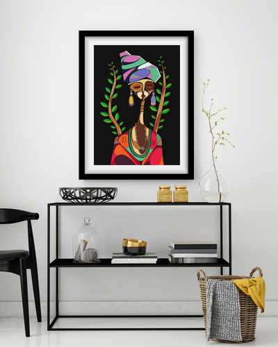 African lady framed interior