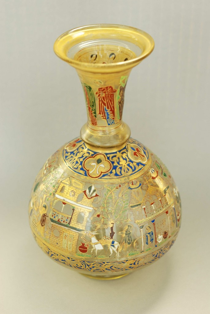 A bottle portraying monastic scenes, Syria 13th Century (c) Collection of the Furusiyya Art Foundation