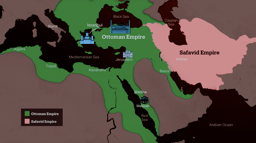 Map of Ottoman and Safavid Empires