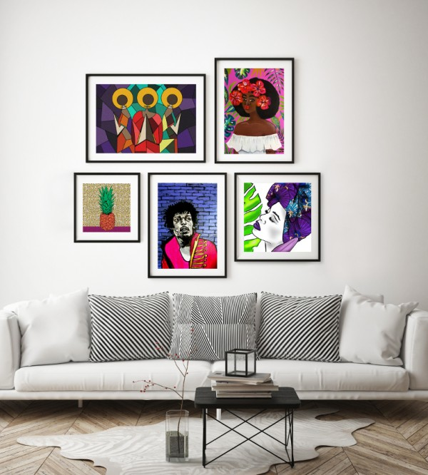 Wall framed prints.